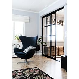 Tilanjakaja/liukuovi Mirror Line Ruudukko musta kahdella ovella korkea malli mittatilaus