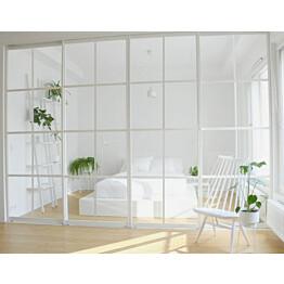 Tilanjakaja/liukuovi Mirror Line Ruudukko valkoinen neljällä ovella, matala malli, mittatilaus