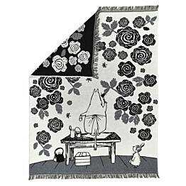 Torkkupeite Finlayson Muumimamman ruusutarha 130x170 cm musta/valkoinen