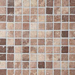 Travertiinimosaiikki Qualitystone Square Coco Brown verkolla 30 x 30 mm
