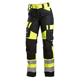 Työhousut Dimex 6046 naisten malli hi-vis stretch keltainen/musta