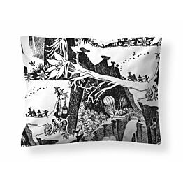 Tyynyliina Finlayson Seikkailumuumi 50x60 cm musta/valkoinen luomupuuvilla