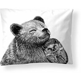 Tyynyliina Finlayson Karhu ja siili 50x60 cm musta/valkoinen