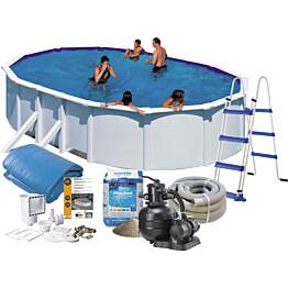 Uima-allas + allastarvikkeet Swim & Fun Budget 500x300x120 cm ovaali valkoinen teräs