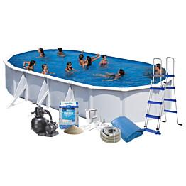 Uima-allas + allastarvikkeet Swim & Fun Budget 730x375x120 cm ovaali valkoinen teräs