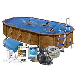 Uima-allas + tarvikepaketti Swim & Fun 610x375x120 cm ovaali puujäljitelmä/teräs