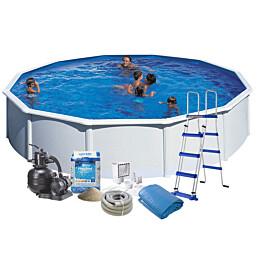 Uima-allas + tarvikepaketti Swim & Fun Budget Ø550x120 cm pyöreä valkoinen teräs