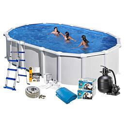Uima-allaspaketti Swim & Fun 132 soikea 610 x 375 cm valkoinen