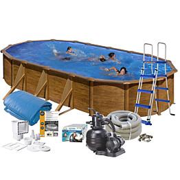 Uima-allaspaketti Swim & Fun Basic 120, 610 x 375 cm ruskea