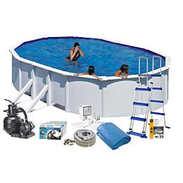Uima-allaspaketti Swim & Fun Basic 132 v2, 500 x 300 cm valkoinen
