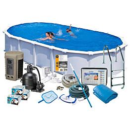 Uima-allaspaketti Swim & Fun Delux 132, 915 x 470 cm valkoinen