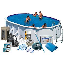 Uima-allaspaketti Swim & Fun Delux 132 v2, 730 x 375 cm valkoinen