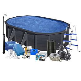 Uima-allaspaketti Swim & Fun Solar 120, 500 x 300 cm musta aurinkopaneelilla