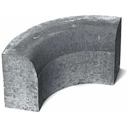 Upotettava reunakivi Rudus H11 kulma R250 kovera 493x170x300 mm sileä harmaa
