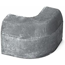 Upotettava reunakivi Rudus H12 kulma R250 kupera 702x170x300 mm sileä harmaa