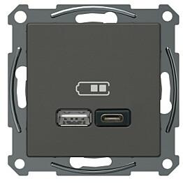 USB-latauspistorasia Schneider Electric A + C 2,4 A antrasiitti Exxact