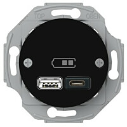 USB-latauspistorasia Schneider Electric A + C 2,4 A musta Renova
