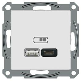 USB-latauspistorasia Schneider Electric A + C 2,4 A valkoinen Exxact