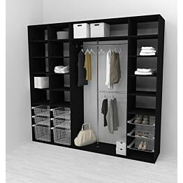 Walk-in closet 260 cm Mirror Line 2100/2400x2600x510 mm musta