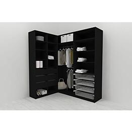 Walk-in closet L-malli Mirror Line 2200x1500x1800 mm musta