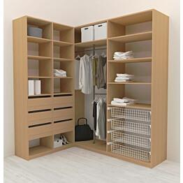Walk-in closet L-malli Mirror Line 2200x1500x1800 mm tammi