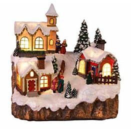 Valaistu pöytäkoriste Star Trading Small Village, 22x22x19 cm