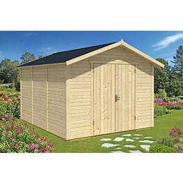 Varasto 3010x3640 mm 10,9 m² puuvalmis puutarhassa