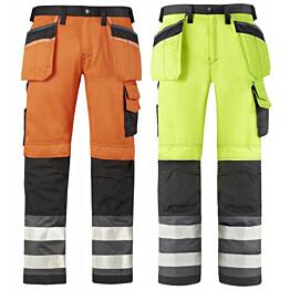 Varoitusvaate housut riipputaskuilla luokka 2 eri värejä
