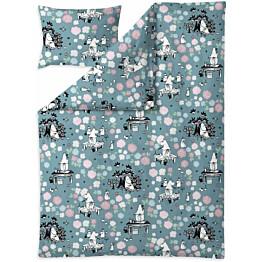 Vauvan pussilakanasetti Finlayson Muumimamma unelmoi 85x125 cm siniharmaa/roosa