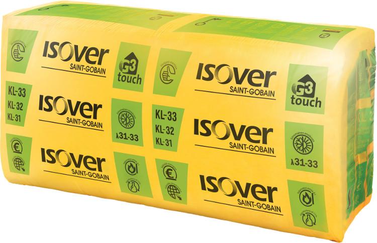 Mineraalivilla Isover KL 33 G3 touch 100 x 560 x 870 mm 3.9m2