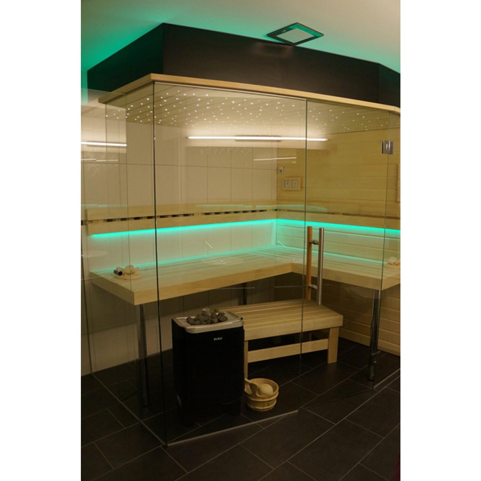 Saunan lasiseinä GlassHouse ovi + korkea ikkuna saranat sivussa  Taloon com