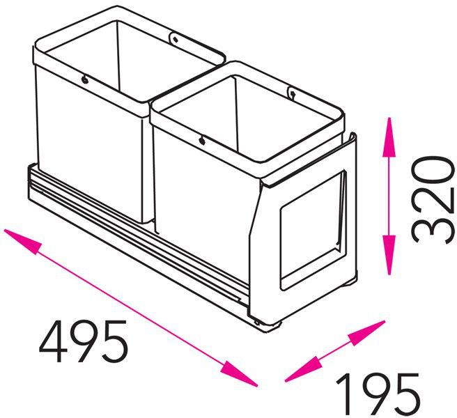 Jätevaunu Stala EKO2 1 2×10 L + ongelmajäteastia  Taloon com