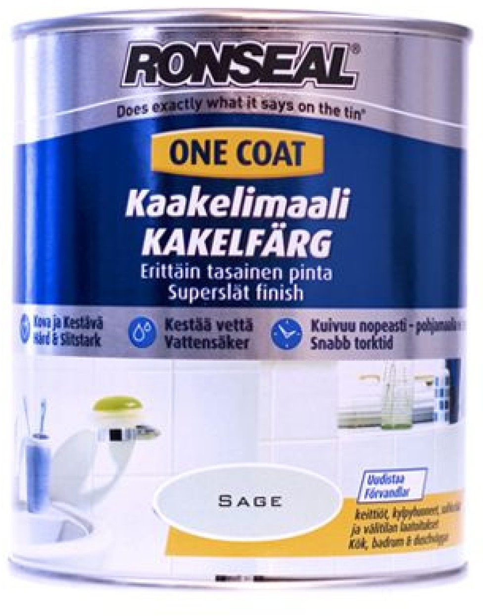 Kaakelimaali Ronseal 750 ml Brilliant white Valkoinen satiini