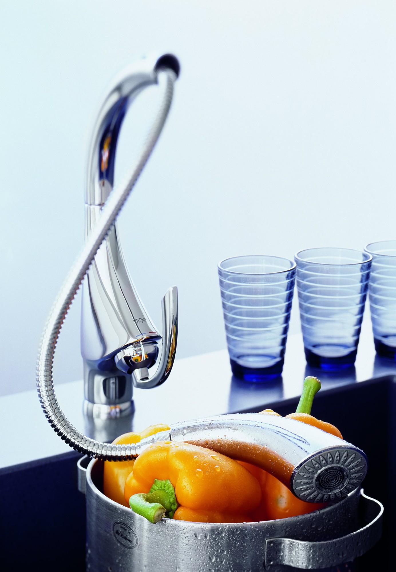 Keittiöhana Grohe K4 kromi ulosvedettävällä suihkulla  Taloon com