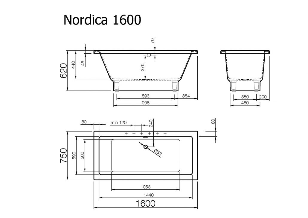 Kylpyamme Vispool Nordica 160 220l 1600x750x620mm