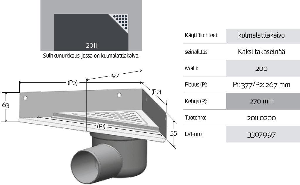 Lattiakaivokaluste kulma 2011 200 mm Unidrain  Taloon com
