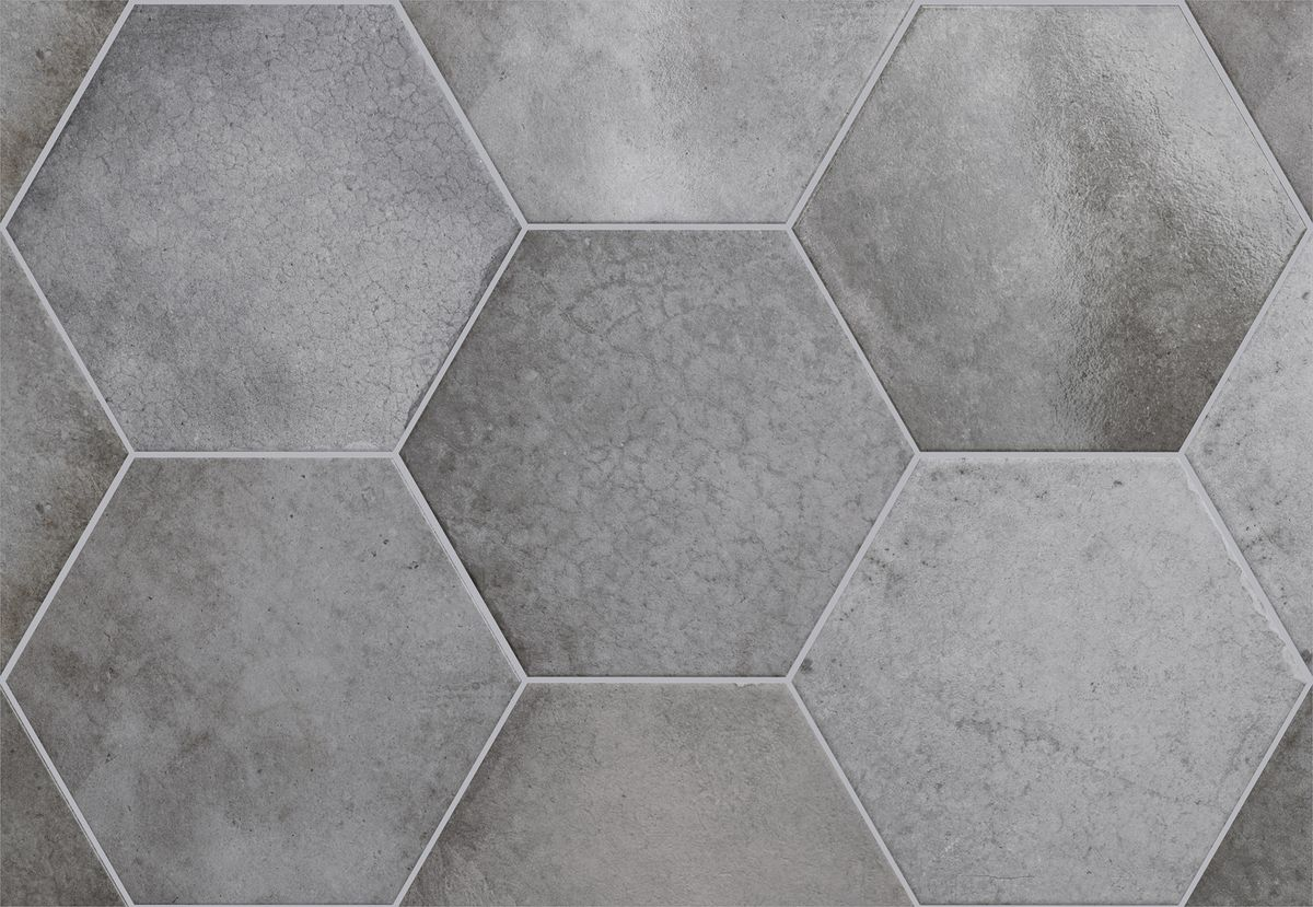 Lattialaatta Pukkila Hexagon Heritage Shadow himmea silea 200x175mm