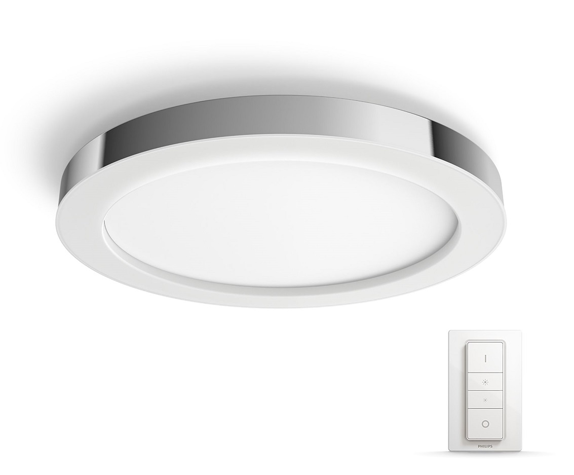 LED-kattovalaisin Philips Hue Adore himmentimellä 40W IP44 Ø405x52 mm metalli/synteettinen kromi