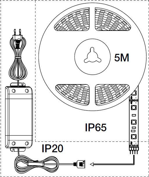 LED nauha Nimba 5M IP65 30W 1200 lm 5000 mm + muuntaja