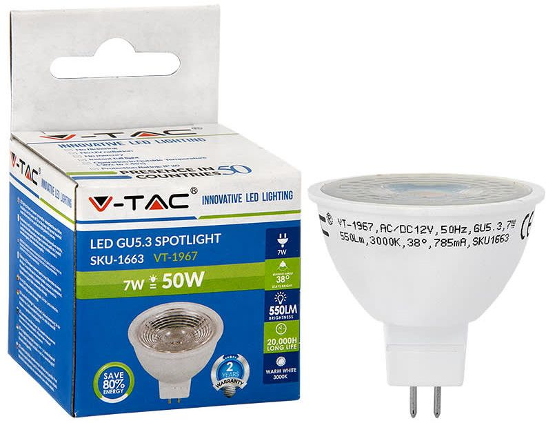 LED-polttimo V-TAC 7 W MR16/GU5.3 3000 K