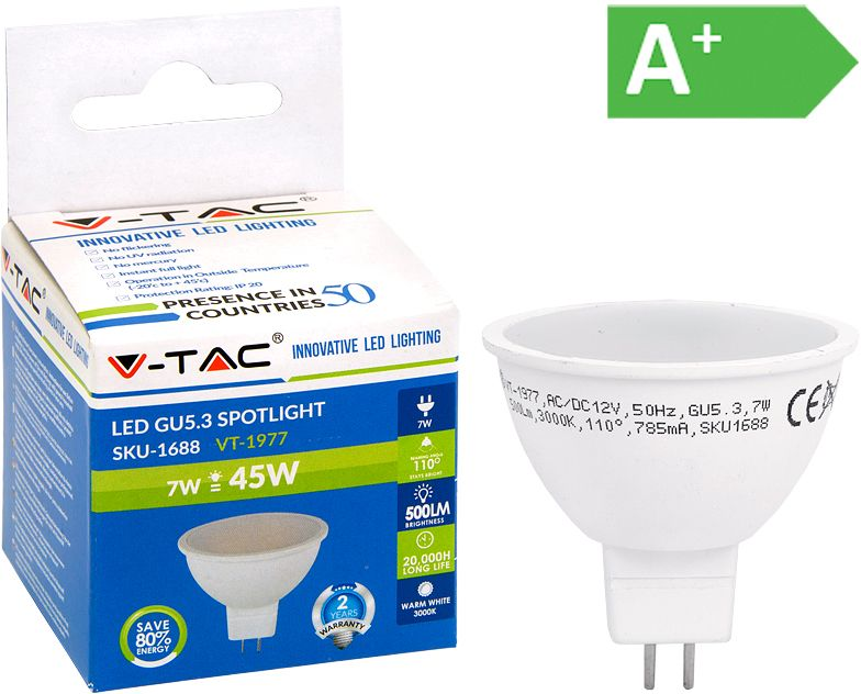 LED-polttimo V-TAC 7W MR16/GU5,3 3000 K, 500 lm