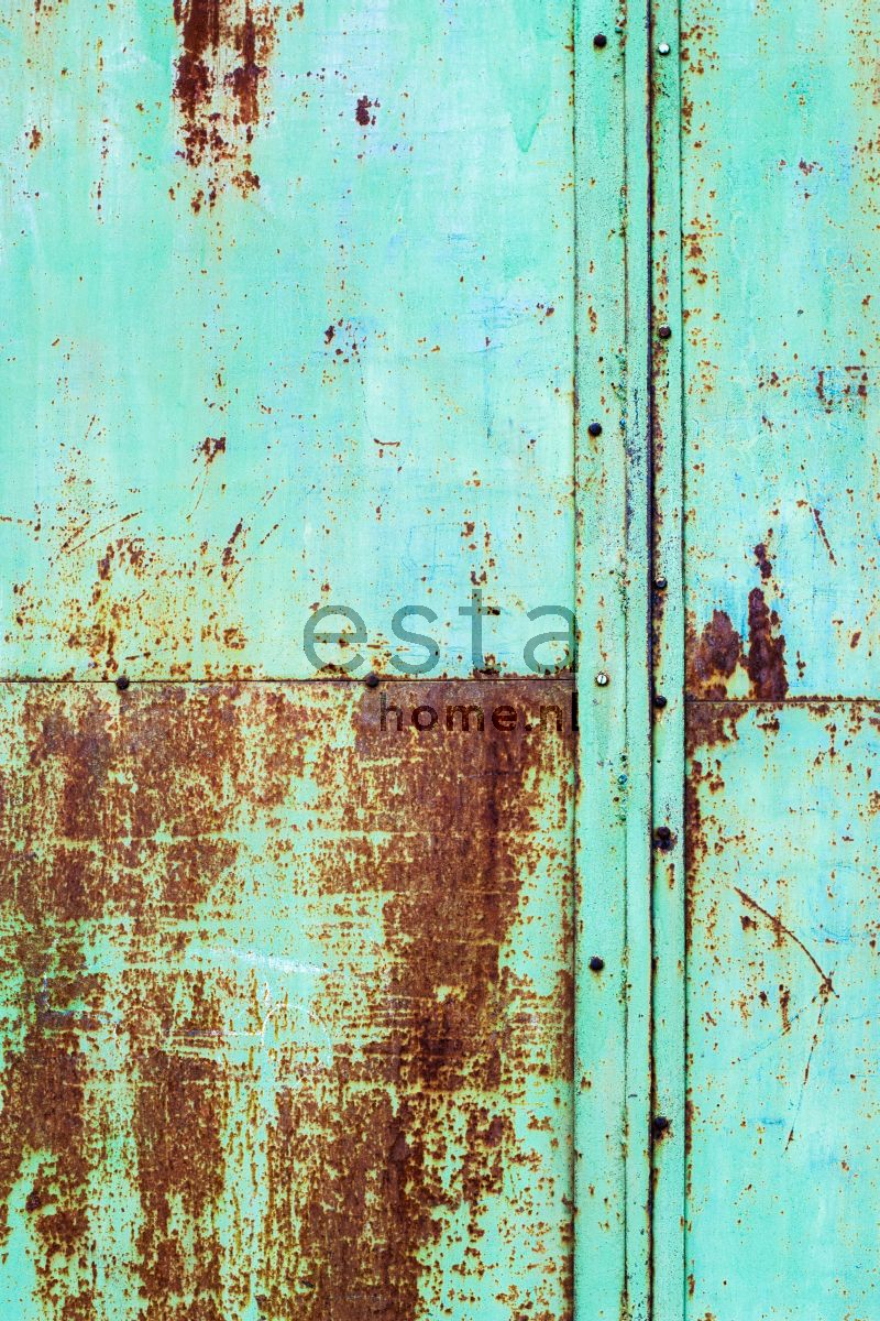 Paneelitapetti PhotowallXL Rusty Metal Wall 158207 1860x2790 mm turkoosi