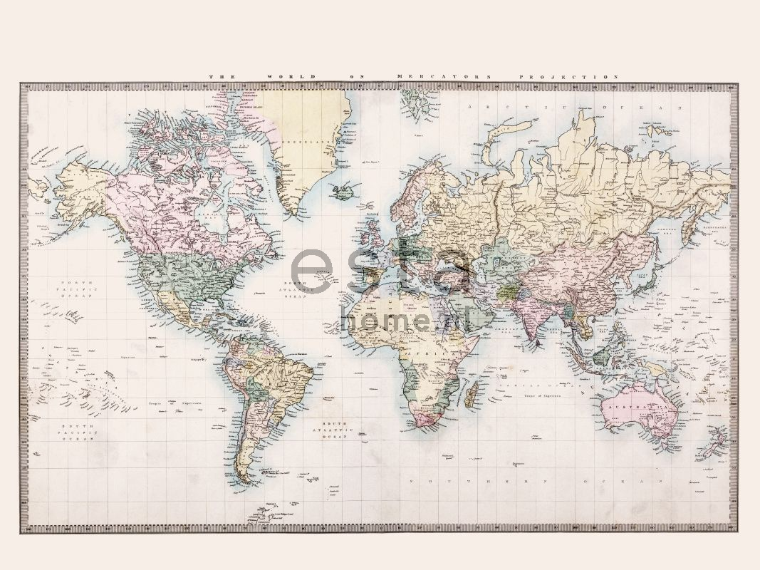 Paneelitapetti PhotowallXL Vintage Map of The World 158210 3720x2790 mm