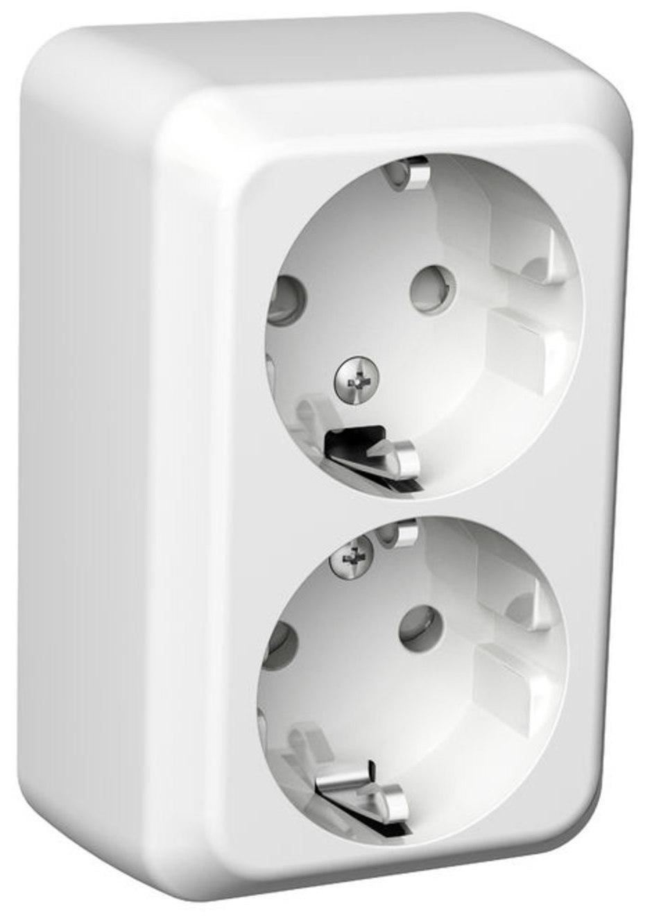 Pistorasia 2 osainen pinta asennettava PJ IP21 valkoinen Exxact  Taloon com