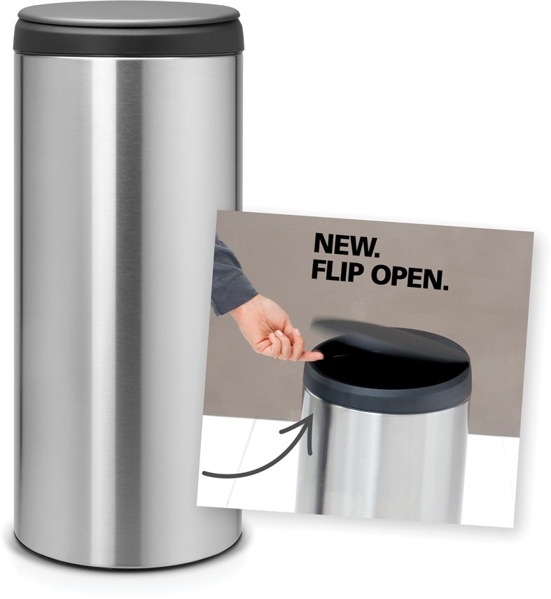 Roska-astia Brabantia Flip Bin, 30L, Matt Steel Fingerprint Proof