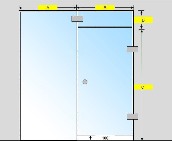 Saunan lasiseinä GlassHouse ovi + lisäpala + korkea ikkuna saranat sivussa
