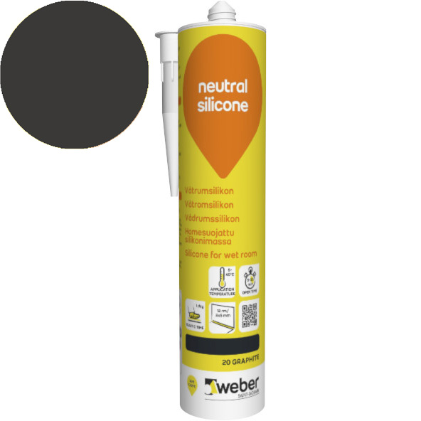 Silikonimassa Weber neutral silicone 20 Graphite 310 ml