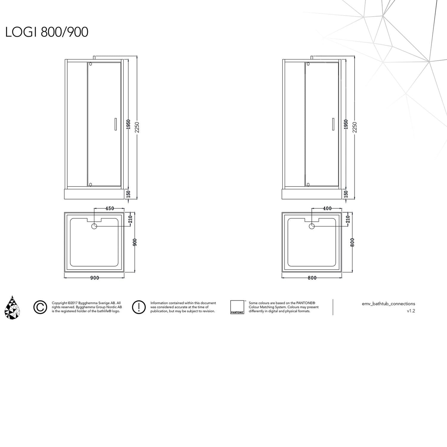 Suihkukaappi Bathlife Logi 800x800 mm