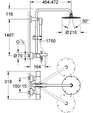 suihkukokonaisuus grohe rainshower system 210 termostaatti ammejuoksuputkella yl suihku. Black Bedroom Furniture Sets. Home Design Ideas