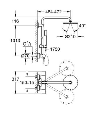 suihkukokonaisuus grohe rainshower system 210 termostaatti yl suihku k sisuihku. Black Bedroom Furniture Sets. Home Design Ideas